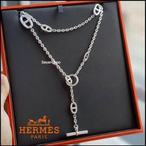 HERMES Chaine dAncre Casual Style Unisex Initial Party Style Silver Office Style
