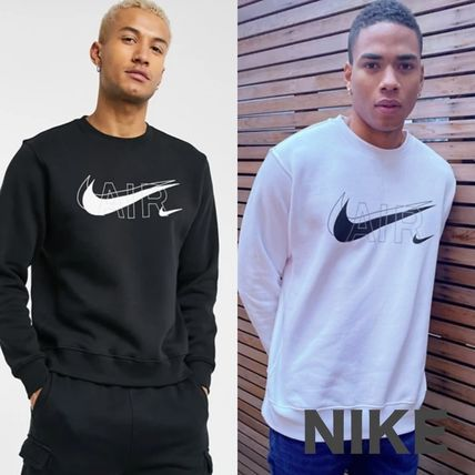 Nike Sweatshirts Crew Neck Street Style Long Sleeves Logo Sweatshirts