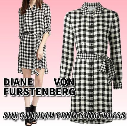 Short Gingham Casual Style Silk Long Sleeves Office Style
