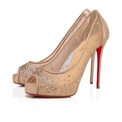 Christian Louboutin Formal Style  Open Toe Pin Heels Party Style Elegant Style