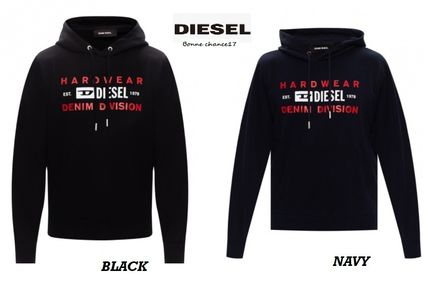 DIESEL Hoodies Blended Fabrics Street Style Long Sleeves Plain Cotton Logo