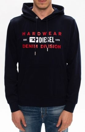 DIESEL Hoodies Blended Fabrics Street Style Long Sleeves Plain Cotton Logo 7