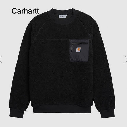 Carhartt Sweatshirts Street Style U-Neck Long Sleeves Plain Shearling Logo