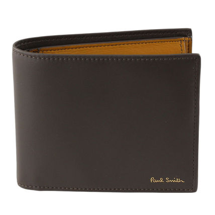 Paul Smith Folding Wallet Logo Bi-color Plain Leather Folding Wallets