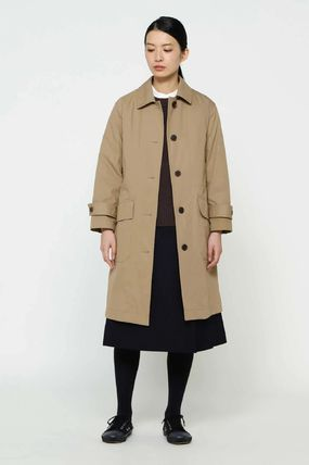 Stand Collar Coats Casual Style Plain Long Oversized Coats