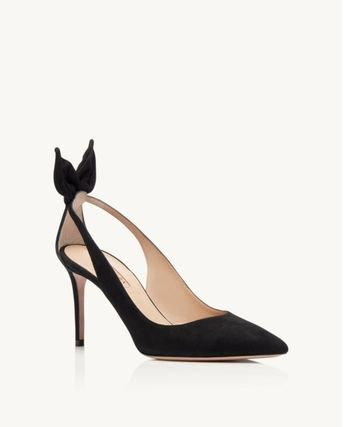 Casual Style Suede Blended Fabrics Plain Leather Pin Heels