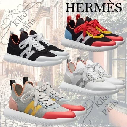 HERMES Casual Style Street Style Plain Low-Top Sneakers
