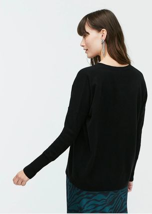 Casual Style Unisex Cashmere V-Neck Long Sleeves Plain Long