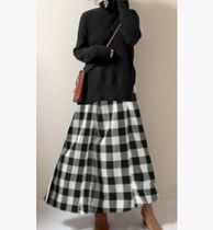Flared Skirts Gingham Tartan Zigzag Casual Style Long