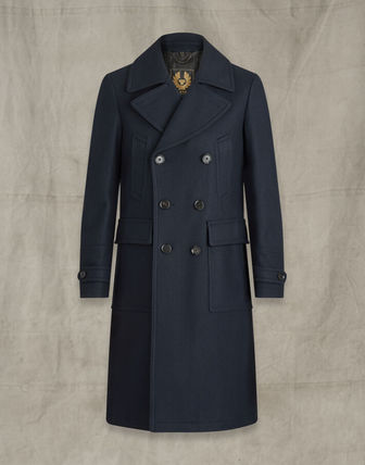 Wool Cashmere Plain Long Front Button Peacoats Coats