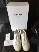 CELINE Triomphe Lace-up Casual Style Plain Logo Low-Top Sneakers