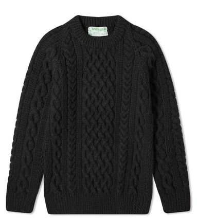 Crew Neck Cable Knit Pullovers Unisex Wool Long Sleeves