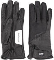 Burberry Plain Leather Cotton Logo Leather & Faux Leather Gloves