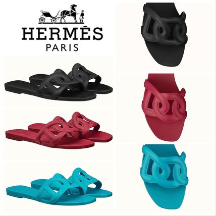 HERMES Open Toe Rubber Sole Casual Style Plain Shower Shoes