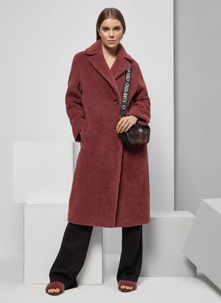 Stand Collar Coats Wool Cashmere Fur Studded Street Style
