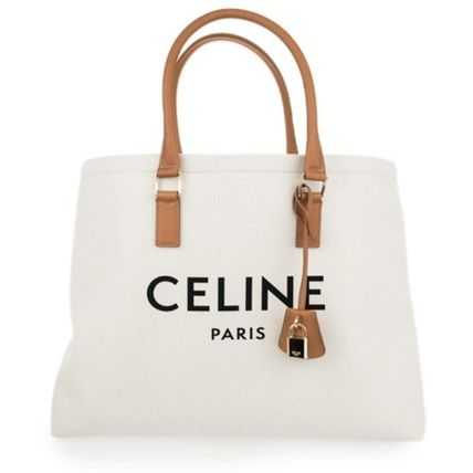 CELINE Cabas Blended Fabrics Leather Office Style Logo Totes