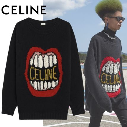 CELINE Sweaters Crew Neck Unisex Wool Cashmere Long Sleeves Plain Logo