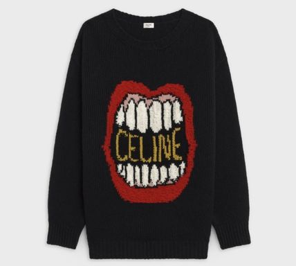 CELINE Sweaters Crew Neck Unisex Wool Cashmere Long Sleeves Plain Logo 2