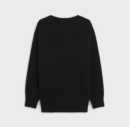 CELINE Sweaters Crew Neck Unisex Wool Cashmere Long Sleeves Plain Logo 3