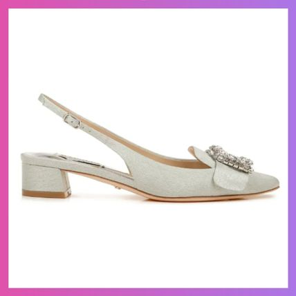 Square Toe Casual Style Plain Block Heels Party Style