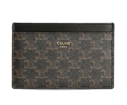CELINE Triomphe Card Holder In Triomphe Canvas And Calfskin