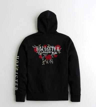 Hollister Co. Hoodies Blended Fabrics Street Style Long Sleeves Cotton Logo 2