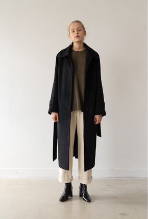 Stand Collar Coats Casual Style Wool Cashmere