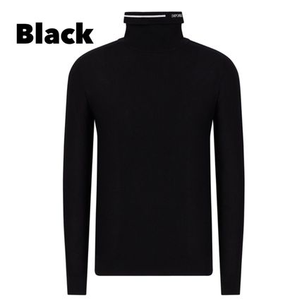 Unisex Wool Long Sleeves Plain Logo Sweaters