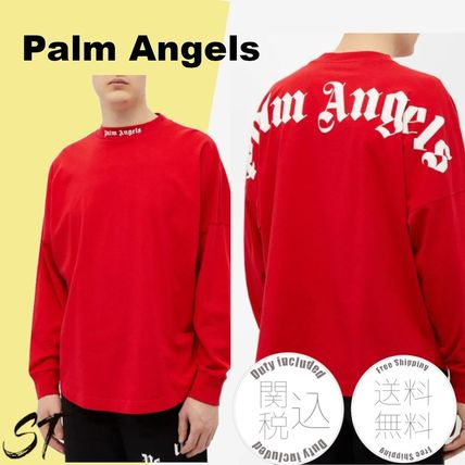 Palm Angels Unisex Street Style Long Sleeves Plain Cotton