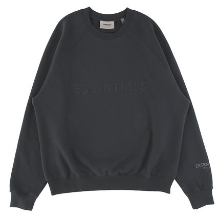 FEAR OF GOD ESSENTIALS Crew Neck Street Style Long Sleeves Plain Cotton Logo