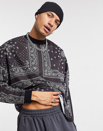 ASOS Crew Neck Pullovers Paisley Street Style Long Sleeves