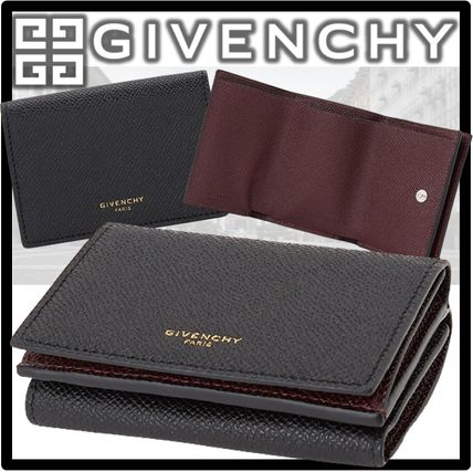 GIVENCHY Logo Leather Street Style Folding Wallets