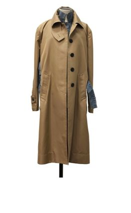 Stand Collar Coats Casual Style Wool Nylon Blended Fabrics