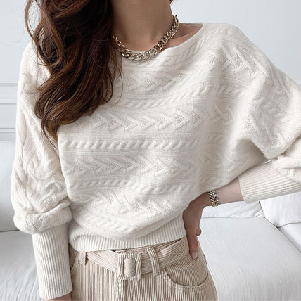 Cable Knit Casual Style Dolman Sleeves Boat Neck