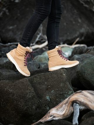 ROXY Mountain Boots Round Toe Rubber Sole Lace-up Casual Style