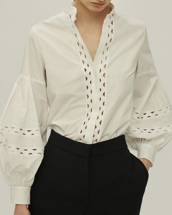 Casual Style Office Style Elegant Style Puff Sleeves
