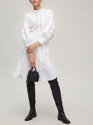 Plain Cotton Medium Shirt Dresses Elegant Style Puff Sleeves