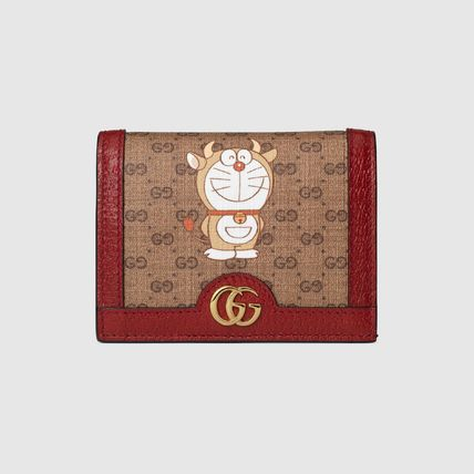 GUCCI GG Supreme Unisex Blended Fabrics Collaboration Leather Folding Wallet