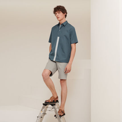 HERMES Luxury Cotton Short Sleeves Polos