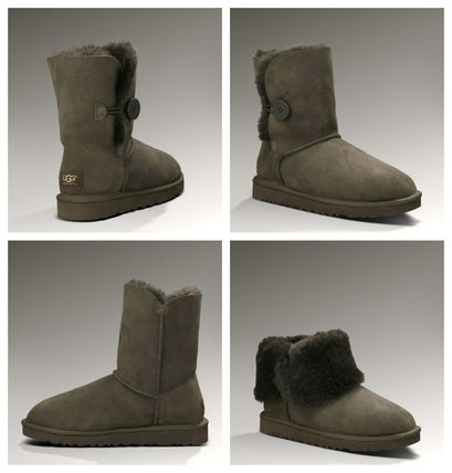 UGG Australia BAILEY BUTTON Plain Toe Round Toe Rubber Sole Casual Style Sheepskin