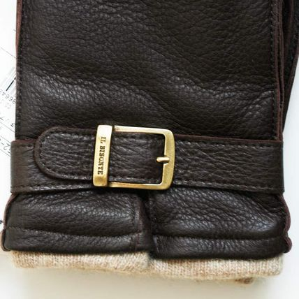 IL BISONTE Plain Leather Leather & Faux Leather Gloves