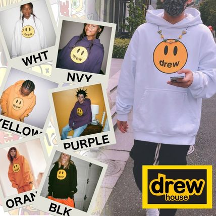 drew house Hoodies Pullovers Unisex Street Style Long Sleeves Cotton Oversized