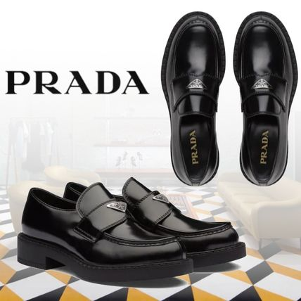 PRADA Loafers Plain Leather Logo Loafers & Slip-ons