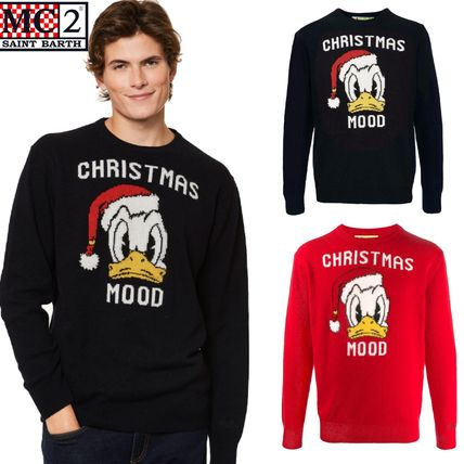 Crew Neck Wool Cashmere Blended Fabrics Long Sleeves