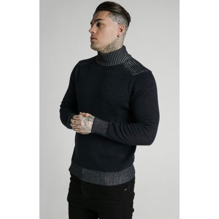 SikSilk Sweaters Pullovers Blended Fabrics Street Style Long Sleeves Plain 2