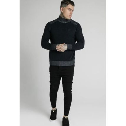 SikSilk Sweaters Pullovers Blended Fabrics Street Style Long Sleeves Plain 4