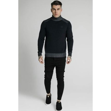 SikSilk Sweaters Pullovers Blended Fabrics Street Style Long Sleeves Plain 5