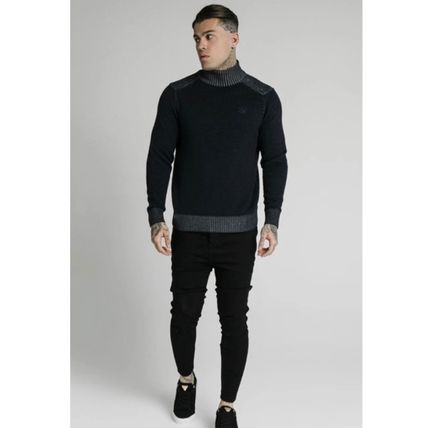 SikSilk Sweaters Pullovers Blended Fabrics Street Style Long Sleeves Plain 6