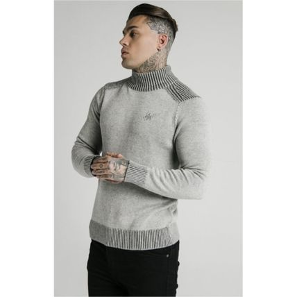 SikSilk Sweaters Pullovers Blended Fabrics Street Style Long Sleeves Plain 8