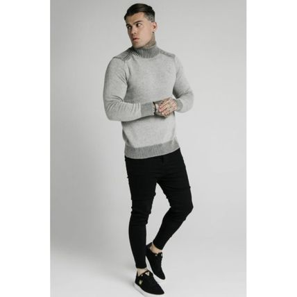 SikSilk Sweaters Pullovers Blended Fabrics Street Style Long Sleeves Plain 10